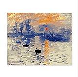WYTCY avec Peinture encadrée par numéros Art Peinture par numéro Bricolage décoration Salon Chambre canapé Fond Peinture Monet Lever du Soleil célèbre 40x50cm...