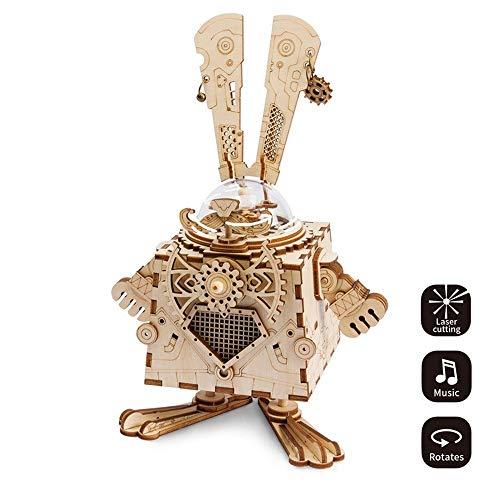 LYMDY Spieluhr Steampunk Fan Drehbare DIY Bunny Holz Uhrwerk Spieluhr Wohnkultur Schönheit Geschenke für Freunde Kinder