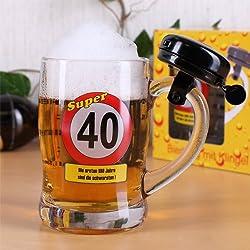 Jarra de cerveza con timbre para 40cumpleaños