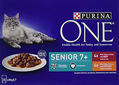Purina ONE Senior 7+ Cat Food Chicken and Beef - 5x8x85g (40 Pouches) from Nestle Purina