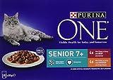 Purina One Senior 7+ cibo per gatti pollo e manzo–5x 8x 85G (40buste)