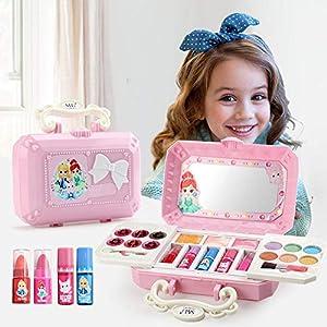 Juguetes Kits de maquillaje Niños Set de maquillaje Cosmético ecológico Juego de simulación de decoración Playhouse, Estuche de tocador cosmético para niñas 23pcs sombra de ojos, rubor, etc. No tóxico