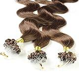 Hair2Heart 100 x 1g Microring Loop Extension Capelli Veri - 60cm - Ondulato, Colore #4 marrone cioccolato