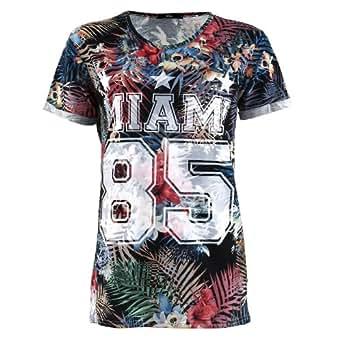 Mim - T-shirt imprimé palmiers Miami - Femme - L - NOIR