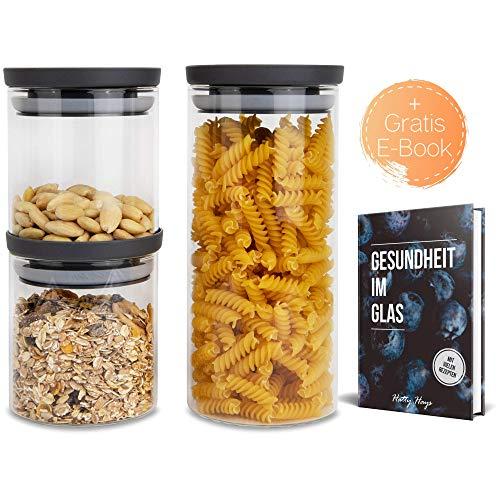 Hatty Hays Vorratsdosen Glas | 3er-Set | 1,0 & 0,5 Liter | Vorratsbehälter aromadicht | BPA frei & spülmaschinengeeignet | modernes Küchen Design | Vorratsgläser Deckel anthrazit grau
