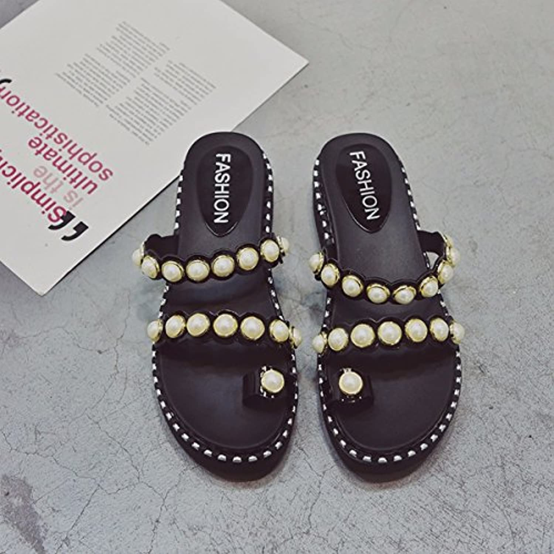 QPSSP Pantoffeln, Dicke Hintern, Extra Den Muffin, Sandalen, Sandalen, Damen - Schuhe,38,Schwarz