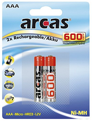 Arcas Set de 2 Piles Rechargeables HR03 600 mAH/1,2 V