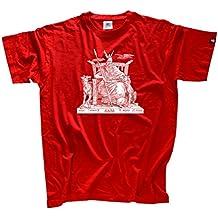 ShirtzshopOdin sobre trono Hugin Munin deidad germánica - Camiseta para hombre, color rojo , talla L