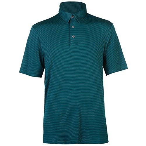 Ashworth Herren Gestreift Golf Polo Funktions-Shirt Langarm Grün UK Extra Sml (Ashworth Golf-t-shirts Herren)