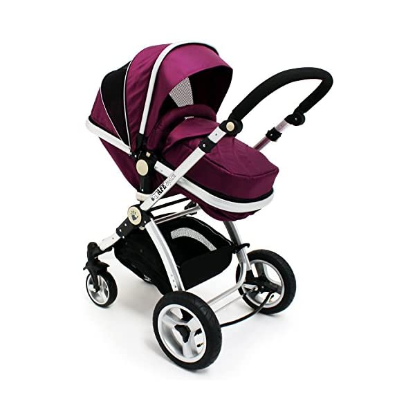 iSafe Trio Pram Stroller 2in1 - Plum (Purple) iSafe 2 in 1 Stroller / Pram Extremely Easy Conversion To A Full Size Carrycot For Unrivalled Comfort Complete With Boot Cover, Luxury Liner, 5 Point Harness, Raincover, Shopping Basket With Closed Ziped Top High Quality Rubber Inflatable Wheels With The Full All around Soft Suspension For That Perfect Unrivalled Ride 4