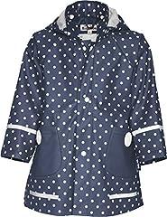 Idea Regalo - Playshoes Cappotto Impermeabile a pois, manica lunga, bambina, Blu (Blau (Marine)), 128 cm