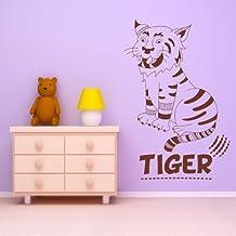 Tigre Niños de la historieta Animales salvajes vinilos decorativos Inicio decoración art pegatinas disponible en 5 tamaños y 25 colores X-Grande Blanco