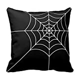 Cupsbags Black and White Spider WeCotton Square Throw Pillow Case 18 x 18 inches