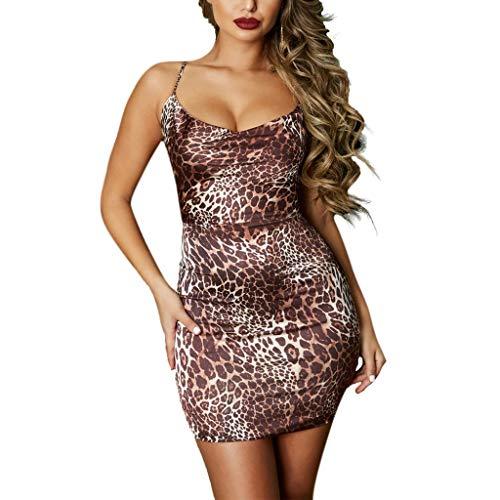 Damen Leopard Rock, LeeMon Sexy Frauen Leopard Print Sling Abend Party Cocktail, figurbetontes Kleid rückenfrei - Print Leopard Kleid Pullover