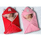 My NewBorn Hooded Velvet Baby Blanket Wrap-Combo Of 2 Pcs (Red-Pink)