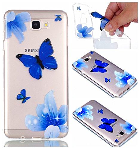 Preisvergleich Produktbild Galaxy J7 Prime Hülle Case, Galaxy J7 Prime Hülle Silikon, BONROY® Transparent Ultra Schlank Handyhülle Schutzhülle, Weiche TPU Silikon Schutz Handytasche Scratch Telefon-Kasten Case Cover Etui für Samsung Galaxy On7 (2016)/ J7 Prime - Blue Butterfly