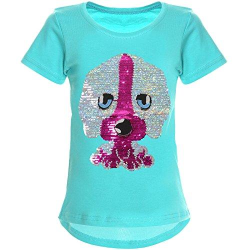 BEZLIT Mädchen Wende-Pailletten T-Shirt Tollen Hund Motiv 22033, Farbe:Grün, Größe:152 (Hund Kleid Modische)