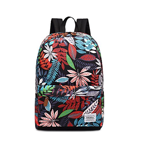willtop Leinwand Rucksack Laptop Daypack Schule Buch Tasche Rucksack LEAFBLACK