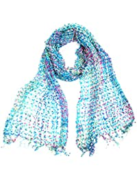 LIGHT AND DELICATE – CONFETTI NET WEAVE SCARF: Hand Loomed in India, a pretty scarf that can be worn for any occasion - 193cm x 33cm in size