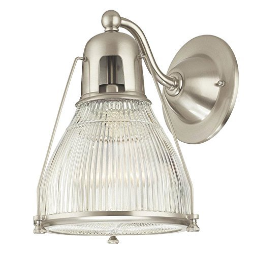 Hudson Valley Lighting Haverhill 1-Light Wall Sconce - Satin Nickel Finish with Clear Prismatic Glass Shade by Hudson Valley Lighting - Clear Prismatic Glass
