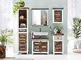 Woodkings® Bad Set Perth 5teilig recyceltes Holz rustikal weiß Mehrfarbig Badmöbel Badschrank Badezimmer Komplettset Echtholz