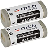 2X Batería NB-9L Compatible con Canon Ixus 500 HS, 510 HS, 1100 HS | PowerShot N | SD4500 IS. (Ver Lista)