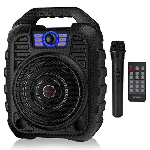 EARISE T26 Tragbares PA-System Bluetooth-Lautsprecher mit drahtlosem Mikrofon, wiederaufladbare Karaoke-Maschine mit FM-Radio, Aufnahmefunktion, Fernbedienung, unterstützt TF-Karte/USB