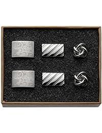 Classic Silver Shine in Box Engraved Stripes Knot 'Valdero Men's Cuff Links–Set of 3)