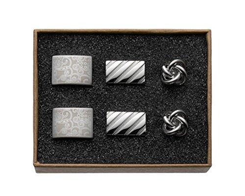"""VALDERO® Herren Manschettenknöpfe - \""""Classic Silver Shine\"""" in Box (Gravur Streifen Knoten)"""