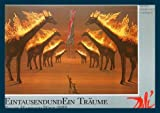 Bild mit Rahmen Salvador Dali - Burning Giraffes - Holz blau, 84 x 59cm - Premiumqualität - , Surrealismus, Brennende Giraffen, Klassische Moderne, Fantasie, Wohnzimmer, Treppenhaus, .. - MADE IN GERMANY - ART-GALERIE-SHOPde