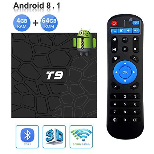 Sofobod T9 Android TV Box Android 8.1 Smart TV Box 4GB RAM 64GB ROM BT 4.1 RK3328 Quad-core 4K Full HD 2.4Ghz WiFi(EINWEG)