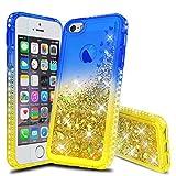 Atump Custodia iPhone 5 Glitter Cover con Protezione HD, Brillantini Silicone Gel Liquido Sabbie Mobili Bumper TPU Case Custodia per iPhone SE/iPhone 5s/ iPhone 5 Blu/Giallo