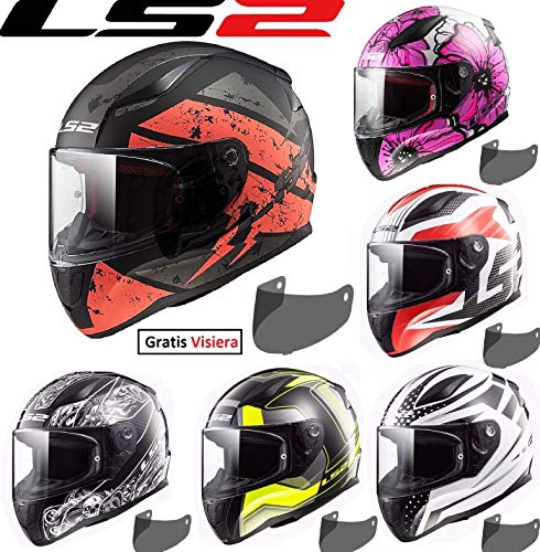 Caschi moto ls2 ff353 rapid casco integrale moto touring racing full face, integrali, casco sportivi con gratis visiera (carrera matt nero/giallo,xs)