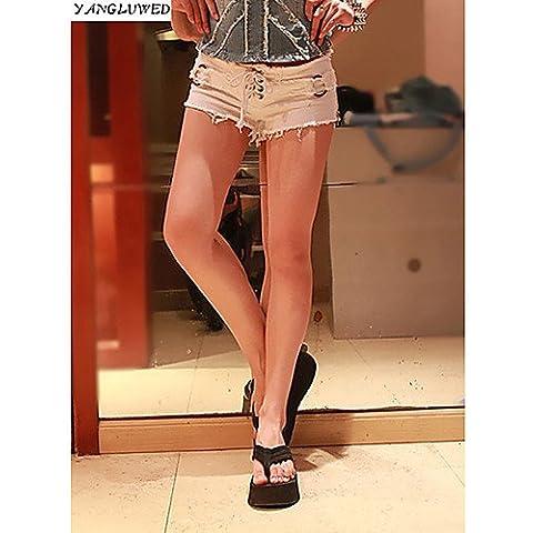 ZY Vintage donne fashion high-waist Jeans foro breve Jeans Denim Pantaloncini, white-l