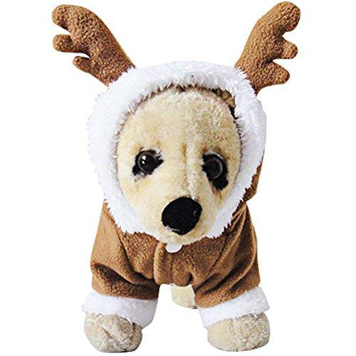 OSPet Mantel für Hund Hoodie Welpen Haustier Warm Rot Herz Bär Outfit für Kleine Hunde Braun, L, Elk Costume