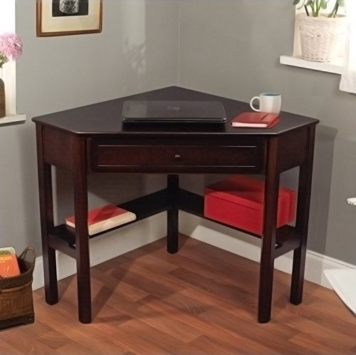 Espresso Student Home Office Computer Laptop Corner Writing Desk by Dorell Home Products