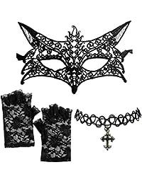 Fancy DressBlack Venetian Lace Fox Mask + Cross Choker + Fingerless Gloves