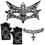 DangerousFX Schwarze venezianische Spitze Fuchs Maske +Kreuz Halskette+fingerlose Handschuhe