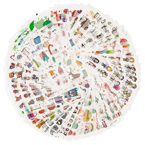 Dekoration Sticker Pack für Kinder Erwachsene 1500+ Designs 72 Blätter 12 Themen Washi Paper Aufkleber Sortiert Decor Aufkleber Selbstklebende Aufkleber Graffiti Patches (Unschuld)