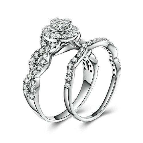 (Custom Ringe)Adisaer Ring Silber 925 Damen Twist Kristall Geometrie Zirkonia Verlobungsring Größe 62 (19.7) Kostenlos (Kostüm Muster Arabische Pferd Das)