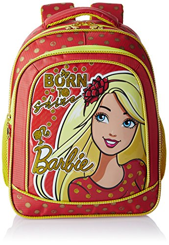 Barbie Polyester 14 Inch Red and Yellow Children's Backpack (Age group :3-5 yrs)