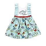 REALIKE--Baby Mädchen Kleid Mode Drucken Rüschen Ärmellos Prinzessin Mini Kleid Blumenmädchenkleid Taufkleid Festlich Kleid Hochzeit Partykleid Festzug Sommerkleid Cocktailkleid Rock