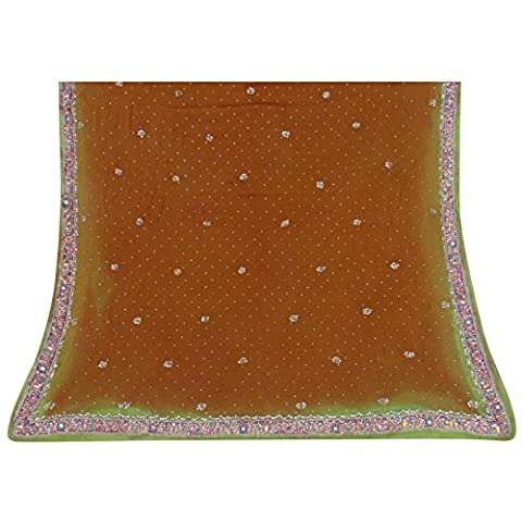 Jahrgang Dupatta Indian lange Stola Georgette Hand wulstige Brown-Schal-Verpackungs-Schleier