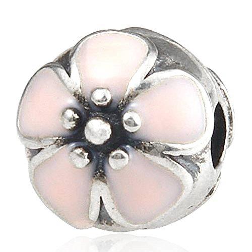 Soulbead - Perlina a clip a forma di fiore di ciliegio smalto rosa, in argento Sterling 925 per braccialetto compatibile Marchio europeo