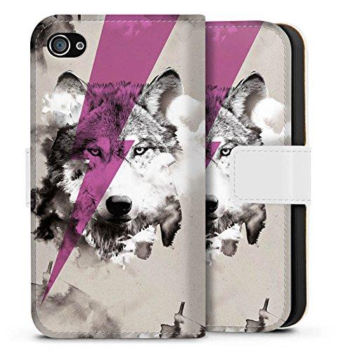 Apple iPhone X Silikon Hülle Case Schutzhülle Hipster Wolf Blitz Sideflip Tasche weiß