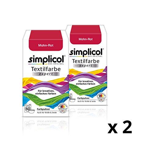 simplicol Textilfarbe expert für kreatives, einfaches Färben, Mohn-Rot 1703, 2er Pack - Farbe für Waschmaschine oder manuelles Färben (Rotes Dye Dip)