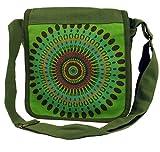 Guru-Shop Schultertasche, Hippie Tasche, Goa Tasche - Grün, Herren/Damen, Baumwolle, Size:One Size, 25x25x7 cm, Alternative Umhängetasche, Handtasche aus Stoff