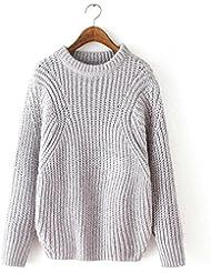 Señoras nuevo punto suéter de la mujer suéter de color sólido suelto