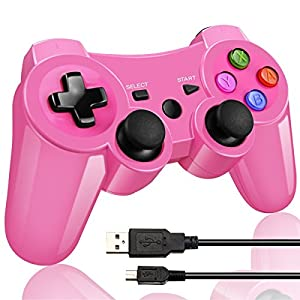 Wireless Bluetooth Game Romote Controller mit Double Shock Bonus kostenloses Ladekabel für ps3 Playstation 3 Controller(Rosa)