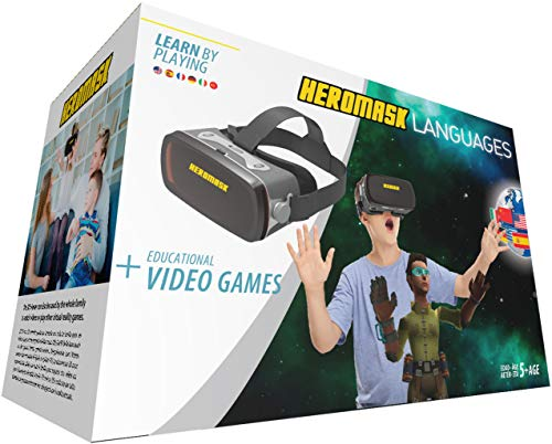 Heromask Visore 3D Bimbo e Giochi Educativi Inglese Spagnolo... Giocattoli Bambino 5 6 7 8 9 10 11 12 Anni VR Occhiali Realtà Virtuale